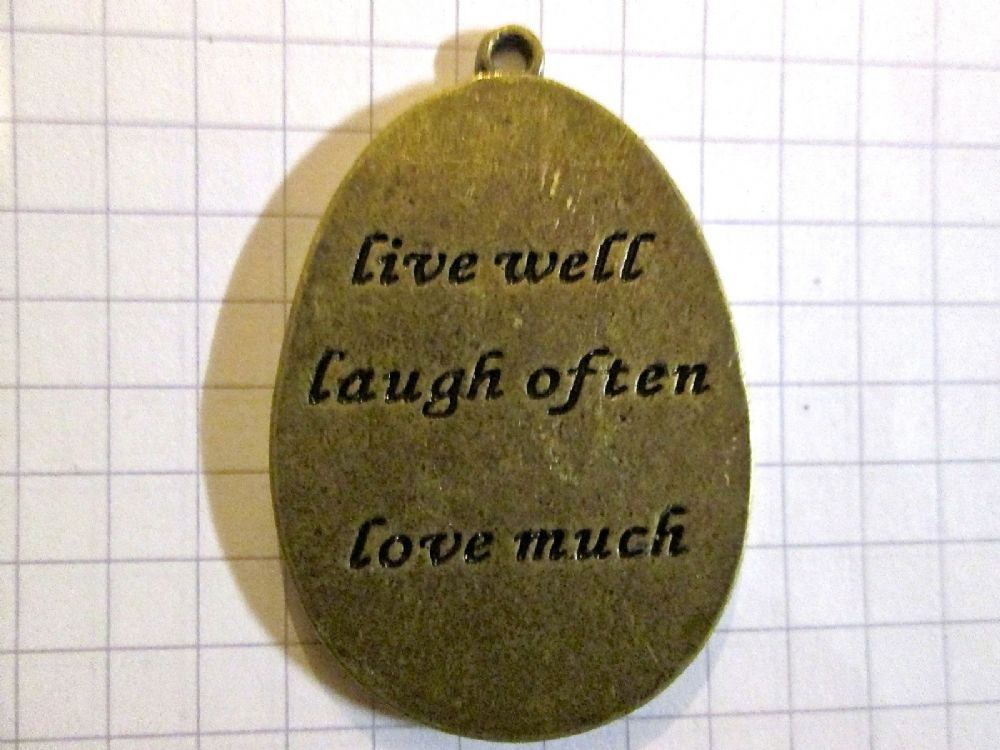 bronze oval shape live well laugh often love much charm pendant. Black Bedroom Furniture Sets. Home Design Ideas